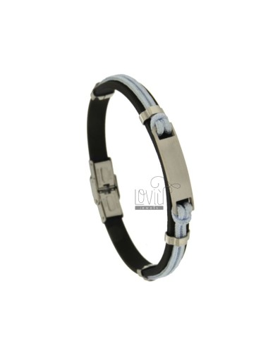 MM 8 WHITE BRACELET AND WHITE ROPE WITH CENTRAL STEEL STEEL