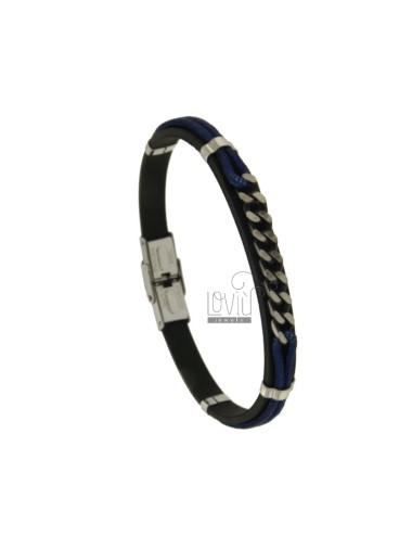 MM 8 BLACK BRACELET AND BLUE CORD WITH STEEL CENTRAL GRINDER