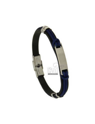MM 8 HAIRDRESS BRACELET AND BLUE ROPE WITH STEEL CENTRAL PLATE