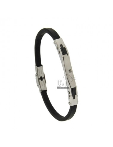 BRACELET IN LEATHER MM 5 PLATE WITH CENTRAL AND STEEL ZIRCONE