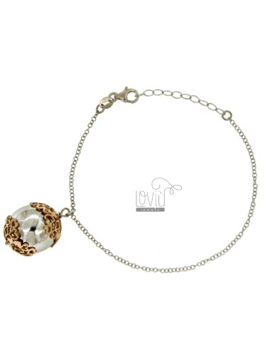 BRACELET MICRO ROLO &39CM 17.20, WITH BALL PENDANT 16 MM IN SILVER AND GOLD PLATED RDIO ROSA TIT 925 ‰