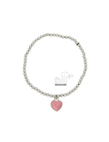 BRACELET SPRING BALL MM 3 Hang WITH A HEART MM 11x10 A PLATE WITH POLISH ROSA IN AG TIT 925 RHODIUM