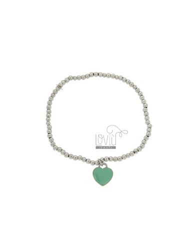 BRACELET SPRING BALL MM 3 Hang WITH A HEART MM 11x10 A PLATE WITH GREEN GLAZE TIFFANY IN AG TIT 925 RHODIUM
