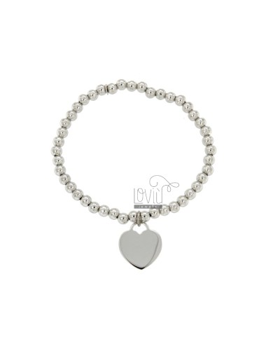BRACELET SPRING BALL 4 MM WITH A HEART Hang MM 16x15 A PLATE IN AG TIT 925 RHODIUM