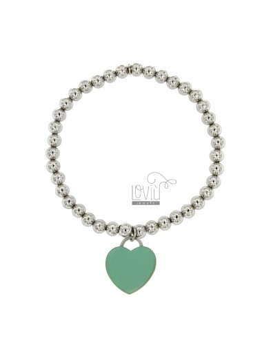 BRACELET SPRING BALL 5 MM WITH A HEART Hang MM 20x18 A PLATE WITH GREEN GLAZE TIFFANY IN AG TIT 925 RHODIUM