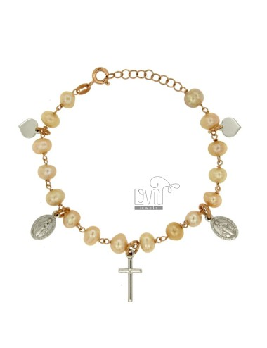 BRACELET WITH PEARLS PENDANTS SILVER RHODIUM AND COPPER TIT 925 ‰ CM 18