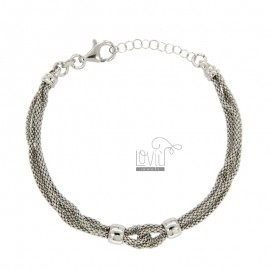 BRACELET POP CORN 4 WIRE KNOT IN SILVER RHODIUM TIT 925 ‰ CM EXTENDING FROM 18 TO 20