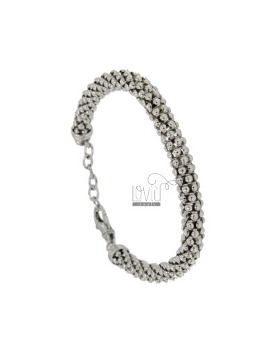 BRACELET 7 MM POP CORN IN SILVER RHODIUM TIT 925 ‰ CM 18.20