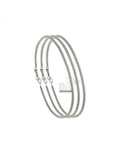 BRACELET PZ 3 POP CORN 1.8 MM 19 CM IN SILVER RHODIUM 925 ‰