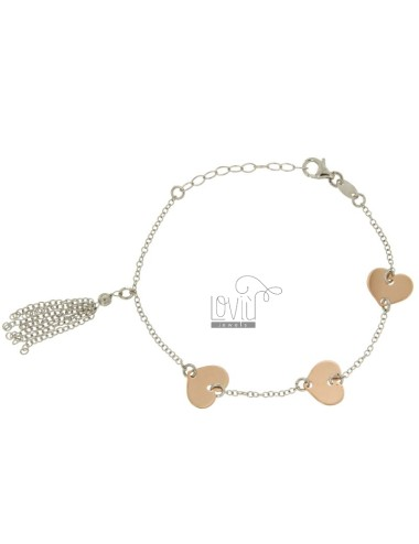 ROLO BRACELET &39HEARTS WITH ALTERNATE IN SILVER AND COPPER RODIATO TIT 925 ‰ CM 18