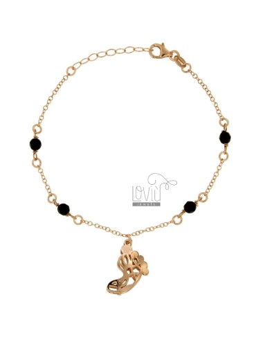 ROLO BRACELET &39WITH FOOT PENDANT BLACK STONES AND SILVER COPPER TIT 925 ‰ CM 18