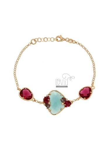 ROLO BRACELET &39WITH ILLEGAL BLUE STONE AND STONES AND SIDE ZIRCONIA SILVER COPPER TIT 925 CM 18
