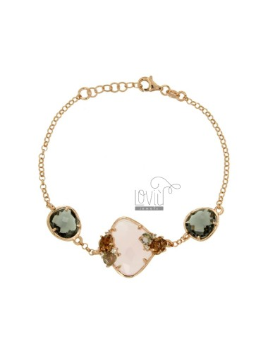 ROLO BRACELET &39WITH UNEVEN STONE ROSE AND STONES AND SIDE ZIRCONIA SILVER COPPER TIT 925 CM 18