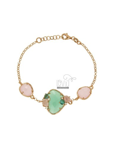 ROLO BRACELET &39STONE WITH ILLEGAL GREEN TIFFANY AND STONES AND SIDE ZIRCONIA SILVER COPPER TIT 925 CM 18