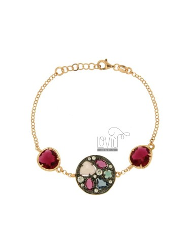 ROLO BRACELET &39ROUND WITH HYDROTHERMAL STONE AND ZIRCONIA SILVER AND GOLD PLATED RUTENIO ROSA TIT 925 CM 18