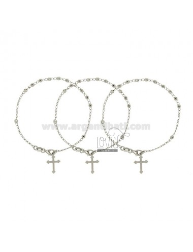 ROSARY BRACELET WITH PALLINA FILLED BY MM 3 CM 20 PZ 3 IN SILVER RODIATO 925 ‰