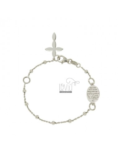 BRACELET ROSARY CABLE WITH BALL MM 3 AND ANGEL OF GOD IN SILVER RHODIUM TIT 925 CM 19