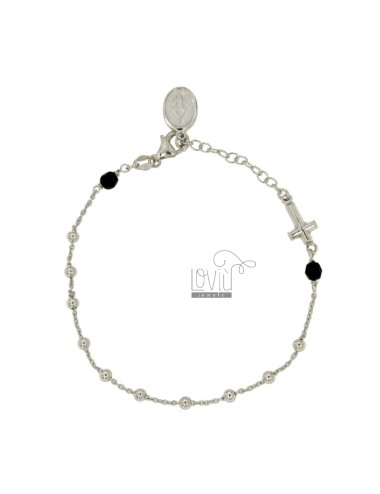 BRACELET ROSARY CABLE AND BALL 3 MM SILVER RHODIUM TIT 925 ‰ WITH CROSS IN LINE MADONNINA PENDANT CRYSTALS AND BLACKS