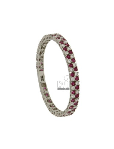 TENNIS BRACELET TWO WIRE MM 7 IN SILVER RHODIUM TIT 925 ‰ AND ZIRCONIA WHITE AND RED CM 18