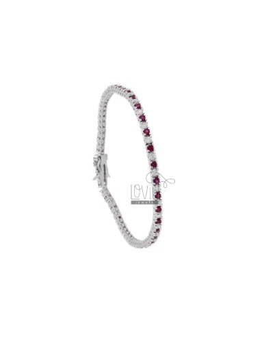 TENNIS BRACELET HIGH QUALITY &39CM 18 SILVER RHODIUM TIT 925 ‰ AND ZIRCONIA WHITE AND RED 2 MM