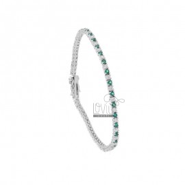 TENNIS BRACELET HIGH QUALITY &39CM 18 SILVER RHODIUM TIT 925 ‰ AND ZIRCONIA WHITE AND GREEN 2 MM
