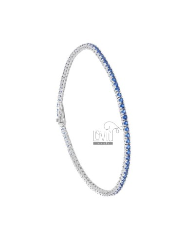 TENNIS BRACELET HIGH QUALITY &39CM 21 SILVER RHODIUM TIT 925 ‰ AND BLUE ZIRCONIA MM 2