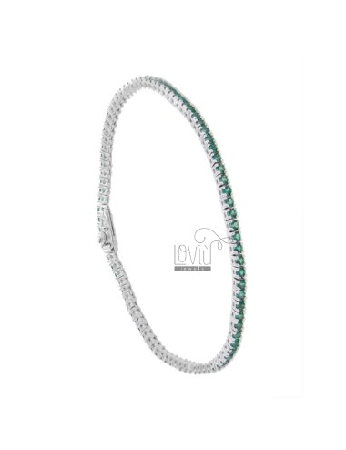 TENNIS BRACELET HIGH QUALITY &39CM 21 SILVER RHODIUM TIT 925 ‰ AND ZIRCONIA GREEN MM 2