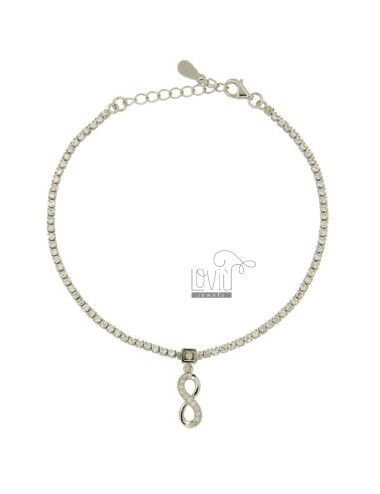 TENNIS BRACELET WITH ENDLESS PENDING IN SILVER TIT 925 ‰ AND ZIRCONIA CM 19.21
