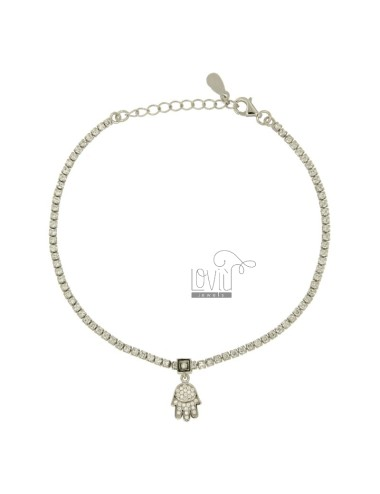 TENNIS BRACELET WITH HAND OF FATIMA PENDANT SILVER TIT 925 ‰ AND ZIRCONIA CM 19.21