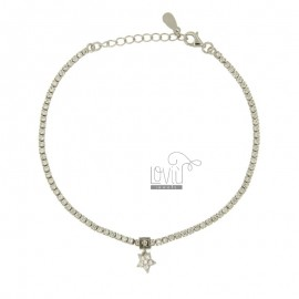 TENNIS BRACELET WITH STAR PENDANT SILVER TIT 925 ‰ AND ZIRCONIA CM 19.21