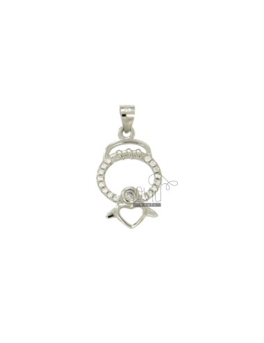 PENDANT ANGEL WITH HEART MM 20x11 SILVER RHODIUM TIT 925 ‰ AND ZIRCONIA