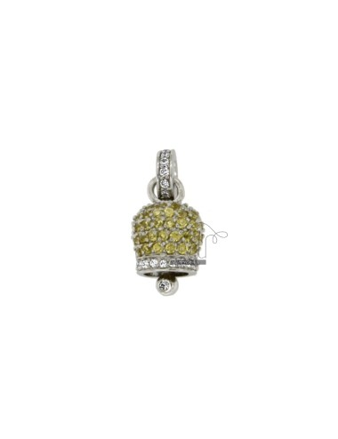 Pendant BELL MM 14X10 SILVER RHODIUM TIT 925 ‰ AND ZIRCONIA YELLOW AND WHITE