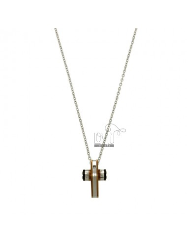CROWN PENDANT WITH CHROME CM 45-50 BICOLOR AND ZIRCONE STEEL