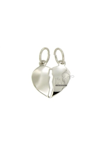 PENDANT HEART DIVIDED BOMBATO MM 18X17 SILVER RHODIUM TIT 925