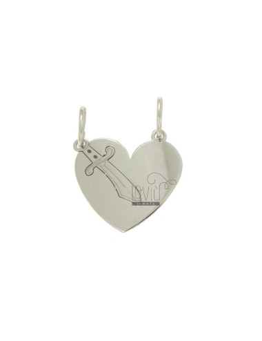 PENDANT HEART WITH SWORD DIVIDED MM 20X20 SILVER RHODIUM TIT 925