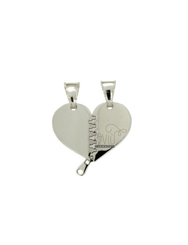 PENDANT HEART DIVIDED BY ZIPPO MM 22X21 SILVER RHODIUM TIT 925