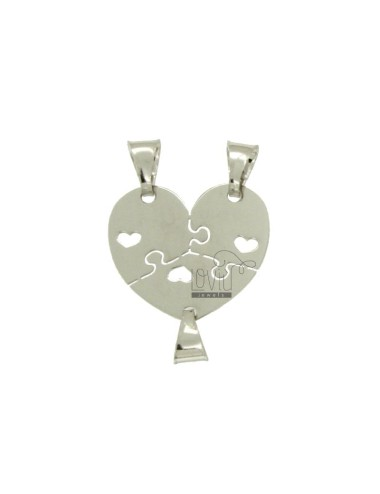 PUZZLE PENDANT HEART DIVIDED TO 3 MM 20x21 SILVER RHODIUM TIT 925