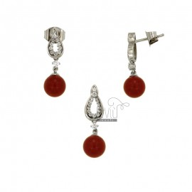 RED CHALLENGER PENDANTS AND EARRINGS MM 8 IN SILVER REDUCED TIT 925 ‰ AND ZIRCONI