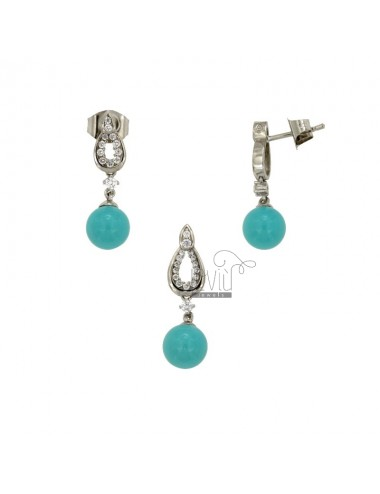 PYRENE AND EARRINGS IN TURKEY PASTA MM 8 IN SILVER REDUCED TIT 925 ‰ AND ZIRCONI