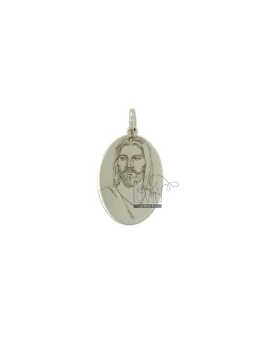 PENDANT OVAL 20X12 MM WITH JESUS &39CHRIST IN SILVER RHODIUM TIT 925