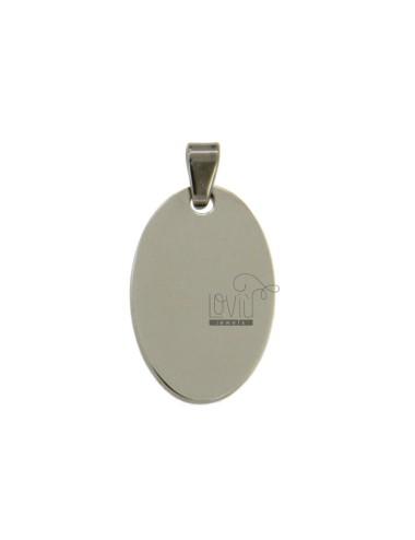 Pendant oval 26x16 mm steel
