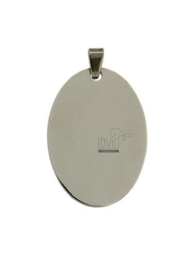 Steel pendiente oval 34x23 mm