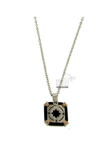 PENDANT SQUARE 18X18 MM WITH WIND ROSE CENTRAL AND CHAIN CABLE CM 45.50 STEEL TWO TONE PLATED RHODIUM AND RUTHENIUM