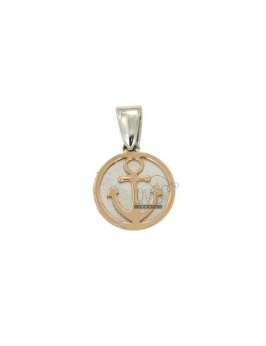 PENDANT 15 MM ROUND WITH STILL IN SILVER AND COPPER TIT 925 RHODIUM