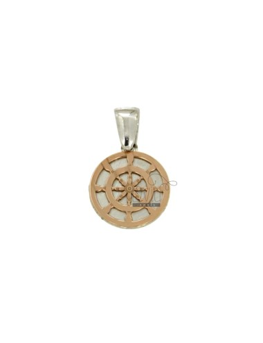 PENDANT 15 MM ROUND WITH HELM IN SILVER AND COPPER TIT 925 RHODIUM