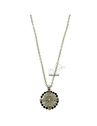 PENDANT 18 MM ROUND WITH HELM STEEL POLISH AND ZIRCONE CHAIN CABLE 50 CM