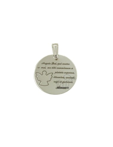 PENDANT 20 MM ROUND WITH ANGEL OF GOD IN SILVER RHODIUM TIT 925