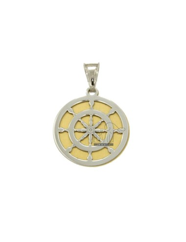 PENDANT 20 MM ROUND WITH HELM IN RHODIUM SILVER AND GOLDEN TIT 925