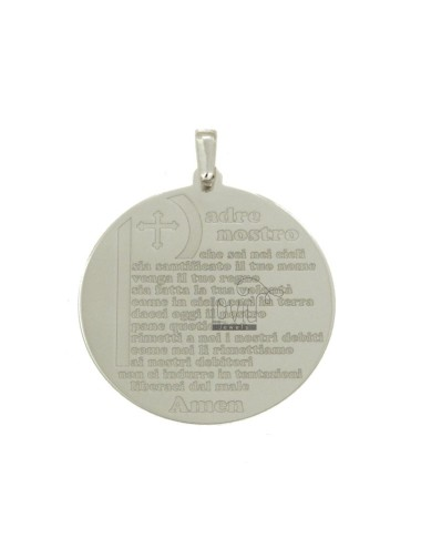 PENDANT 30 MM ROUND WITH OUR FATHER IN SILVER RHODIUM TIT 925