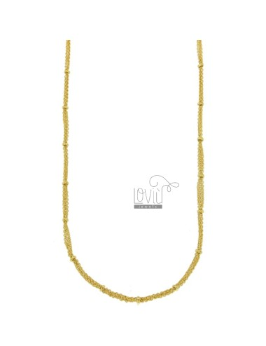 NECKLACE CABLE 3 WIRES WITH DONUTS IN BRONZE GOLDEN CM 45.50